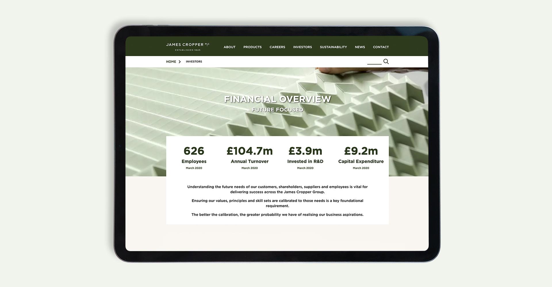 Plain Creative Project - James Cropper PLC Website financial overview page