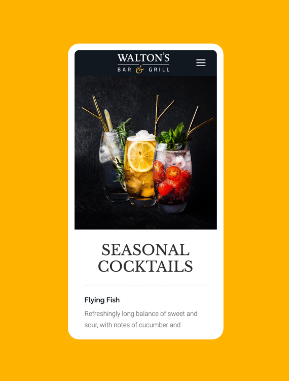 Plain Creative Project Waltons Bar and Grill - mobile design