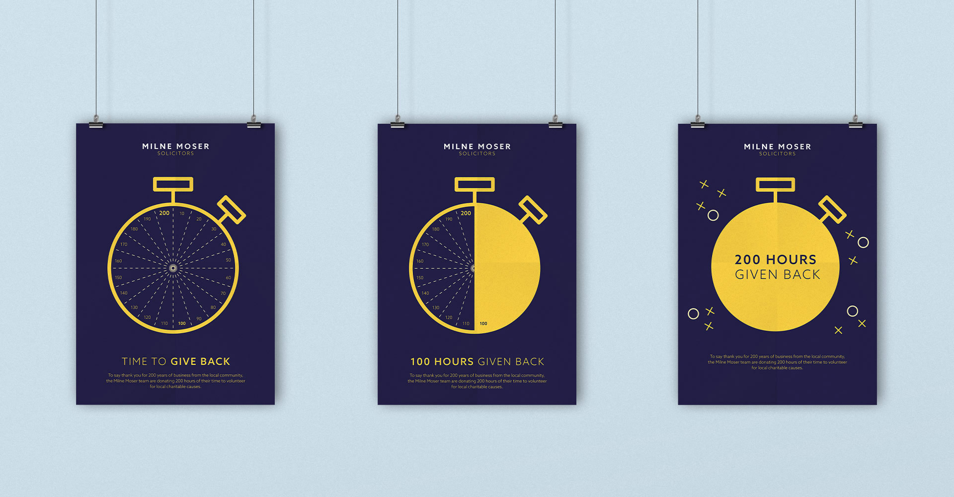 Milne Moser Internal Comms 200 Hours Charity Posters