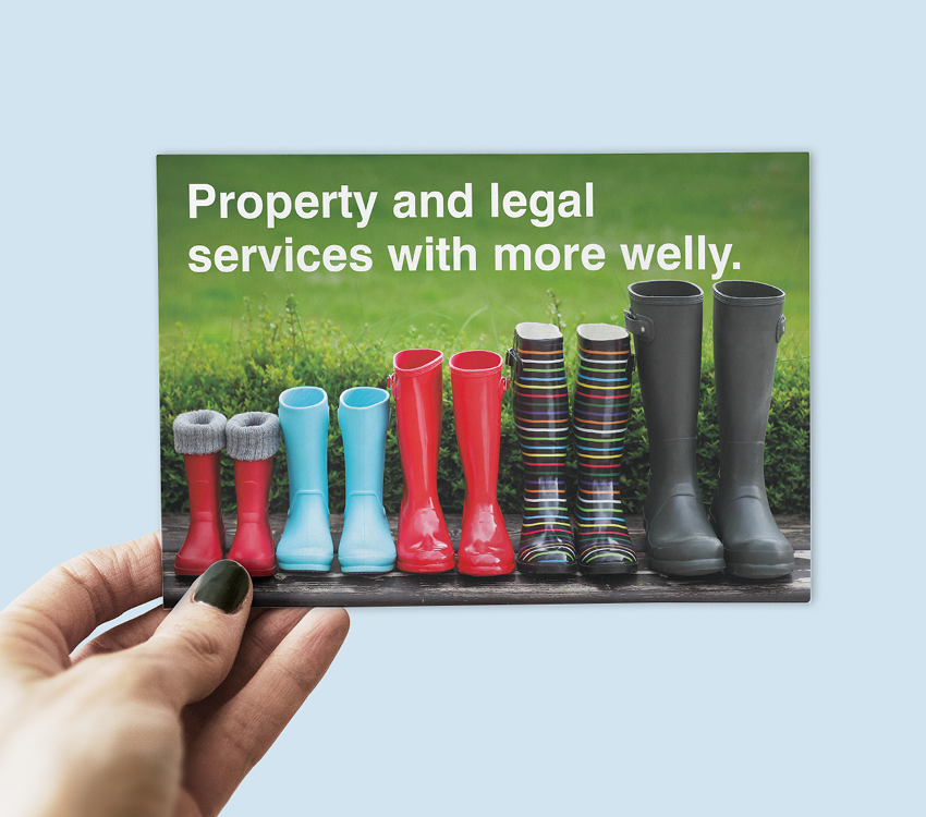 Milne Moser Solicitors Welly Boot Postcard