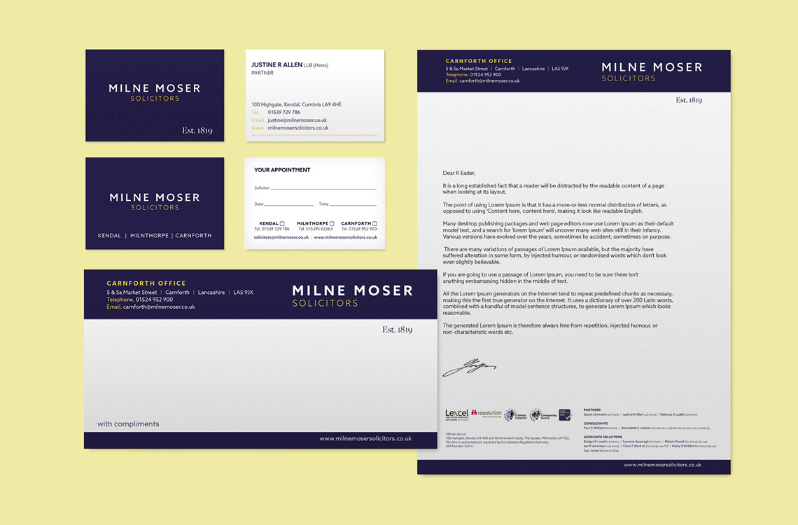 Milne Moser Solicitors Stationery and Business Card Set